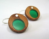 Bamboo and blue/green resin circle earrings