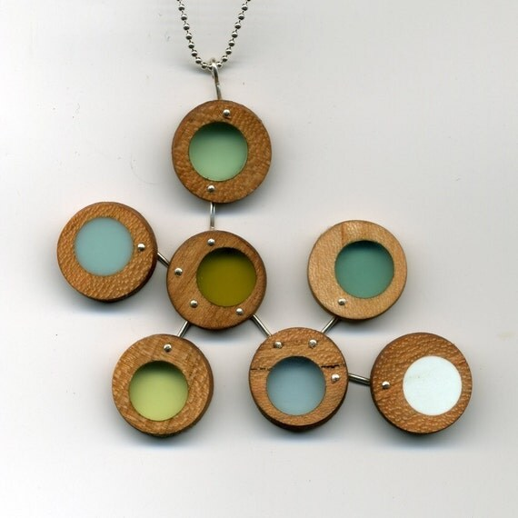 wood and resin cluster necklace