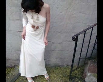 One Shoulder Maxi Dress made from ECO friendly Bamboo Jersey Asymmetrical Organic Cotton Knit- IVORY- other colors xs-xl