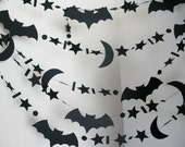 Halloween Garland, 26 Feet Long, Bats, Moons and Stars