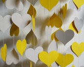 Paper Garland 16' Yellow and Gray Hearts