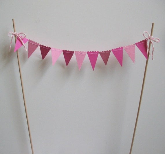 Cake Bunting, Topper, Pink Pennants