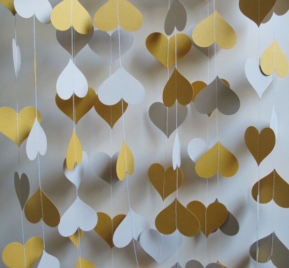 Paper Garland 14' Golden Yellow and Light Gray Hearts