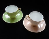Giftboxed Vintage Two Salisbury China Coffee Cups and Saucers 1950s