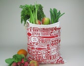 XL Organic Reusable Vegetable Bag in Red