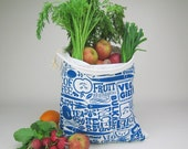 Blue Reusable Grocery Bag with Veggie Print