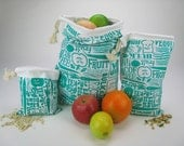 Set of 3 Organic Reusable Vegetable Bags in Green