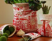 Happy Vegetable Reusable Vegetable Bags in Red