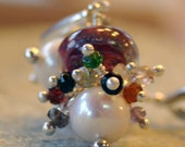 Lampwork, Spinel and Akoya Pearl Earrings, Pearl and Gemstone Earrings, Pearl, Lampwork and Gemstone Earrings,