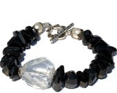 Black Spinel and Rock Crystal Bracelet, Gemstone Bracelet, Statement Bracelet, Made in Montana