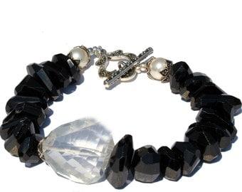 Black Spinel and Rock Crystal Bracelet, Gemstone Bracelet, Statement Bracelet, Made in Montana