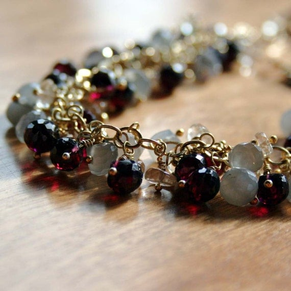 Bracelet of Garnet, Moonstone and Oregon Sunstone with a Gold Fill Lobster Claw Clasp - Vintage