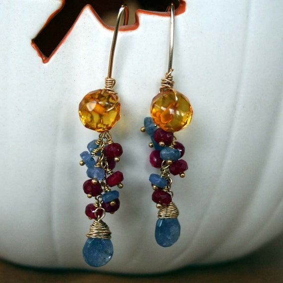 Baltic Amber, Ruby and Tanzanite Earrings on Gold Fill Hooks - Rainforest Fantasy Series