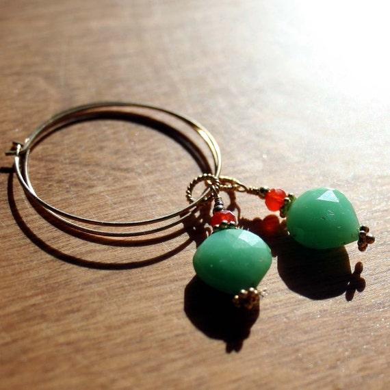 Chrysoprase and Carnelian Hoop Earrings, Gemstone Earrings, Gemstone Hoop Earrings, Green Earrings, Gold Fill Hoops