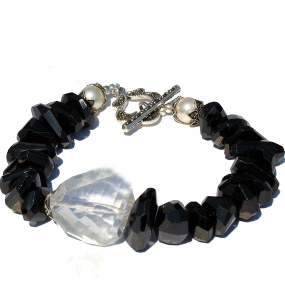 ON SALE: Black Spinel and Rock Crystal Bracelet, Gemstone Bracelet, Statement Bracelet, Made in Montana, Gift for Girlfriend, Gift for Wife