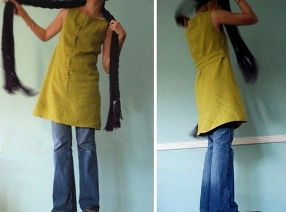 KNEE LENGTH LINEN DRESS in mustard