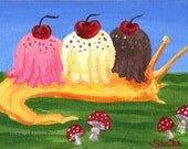 Banana slug ice cream split dessert mollusc weird surreal fantasy art mushroom original painting