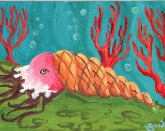 Surreal psychedelic ice cream shellfish mollusk weird original dessert art painting