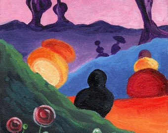 Surreal abstract psychdelic art original 6 x 8 painting rainbow shapes colorful alien landscape sci fi fantasy shapes pink purple orange