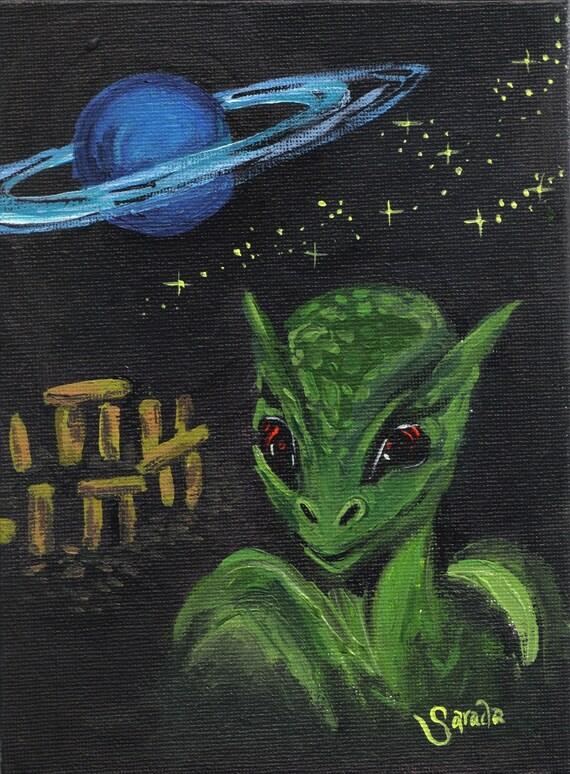 Alien Stonehenge Saturn conspiracy theory UFO 6 x 8 inch acrylic painting, original art sci fi retro outer space cult weird kitsch art