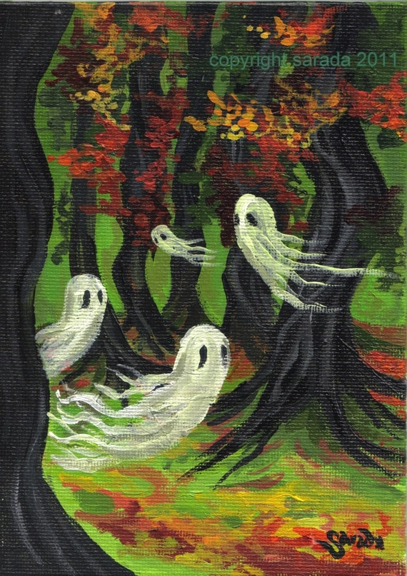 Halloween Ghost Woods Original Painting Haunted Forest Gothic