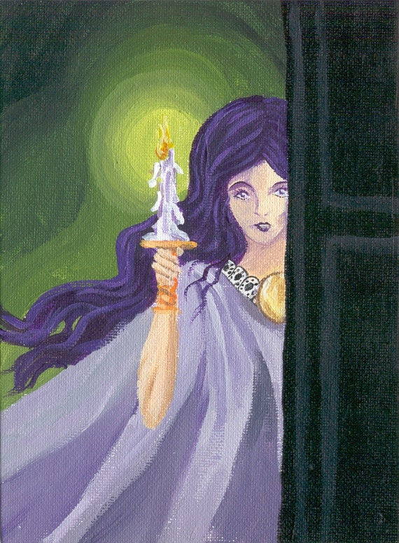 Gothic/Halloween horror haunted house art, woman with candle 5 x 7 reproduction print purple ghost girl dark fantasy shadows
