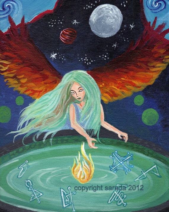 Fire angel, moon pool gothic art 8 x 10 print psychedelic surreal art reproduction