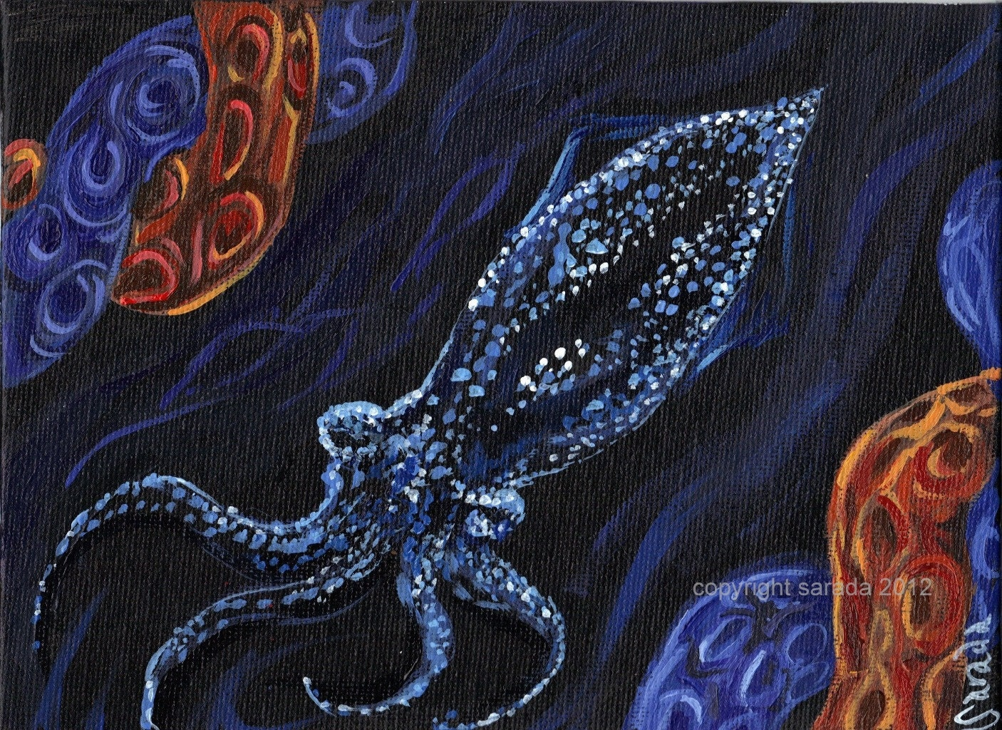 Firefly squid original 5 x 7 acrylic painting deep by ...