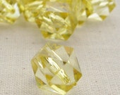 12 Lemon Yellow Acrylic Faceted Square Cube Beads 10 mm