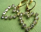 Vintage Heart Earrings - Swarovski