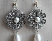Natalia Earrings - Bridal - Wedding - Swarovski Creme Pearls - Silver Filigree