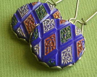 Rhoda Earrings - Vintage Glass - Silver