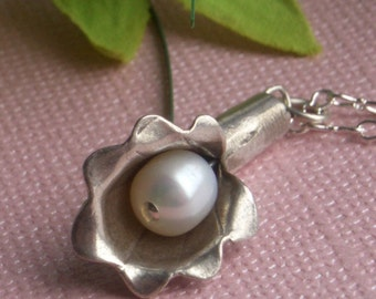 Calla Lily Necklace - Fine Silver - Only one available