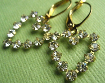 Vintage Heart Earrings - Swarovski