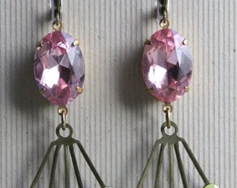 Zara Earrings - Pastels - Vintage Glass & Swarovski