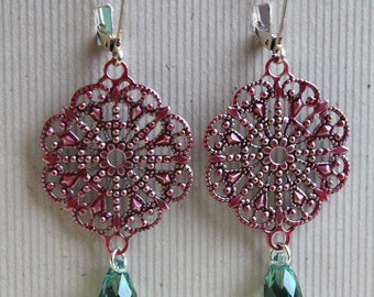Calista Earrings - Painted Metal - Filigree - Swarovski
