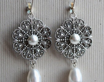 Natalia Earrings - Bridal - Wedding - Swarovski Creme Pearls - Silver Filigree
