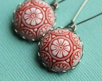 Merry Earrings - Red & White Glass - Surgical Steel Earwires