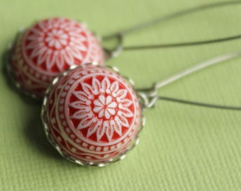 Lucia Earrings - Red & White Vintage Plastic - Surgical Steel Kidney Earwires