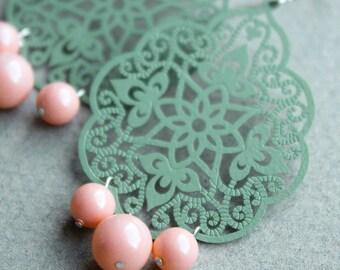 Evie Earrings - Sea Green & Pink - Coated Metal Filigree - Swarovski Pearls