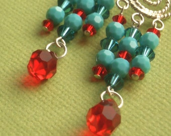 CLEARANCE - Turquoise and Red Chandelier Earrings