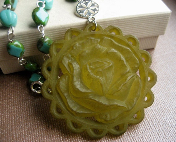Marian Necklace - Glass & Vintage Lucite - Sterling Silver