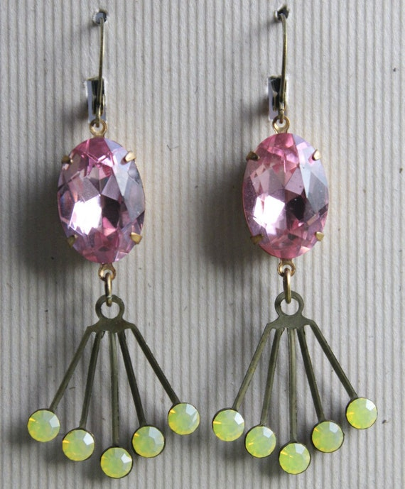 Zara Earrings - Pastels - Vintage Glass & Swarovski