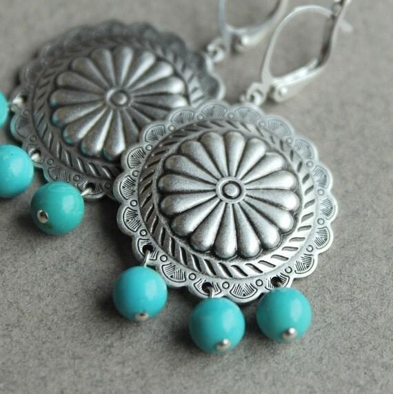 Regan Earrings - Silver - Sleeping Beauty Turquoise