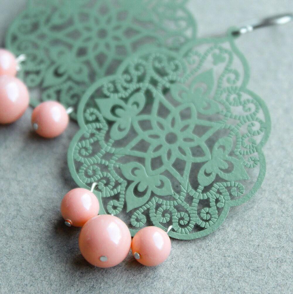 vintage green pastel earrings
