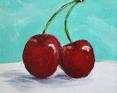 Pair of Cherries - 5 x 5 Original Acrylic Painting