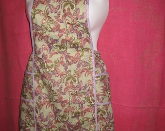PETITE Butterfly Apron in Celery and Lavender