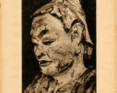 Vintage Oriental  Japanese Buddha and Masks Photogravure Photo Prints German Art of East Asia Book Plates Pages 71 and 72 Paper Ephemera