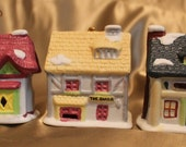 Christmas Bell Ornaments by Readers Digest - 1991 - Dickens Series Collection - Houses - Baker - Queens Inn - Grocery Store