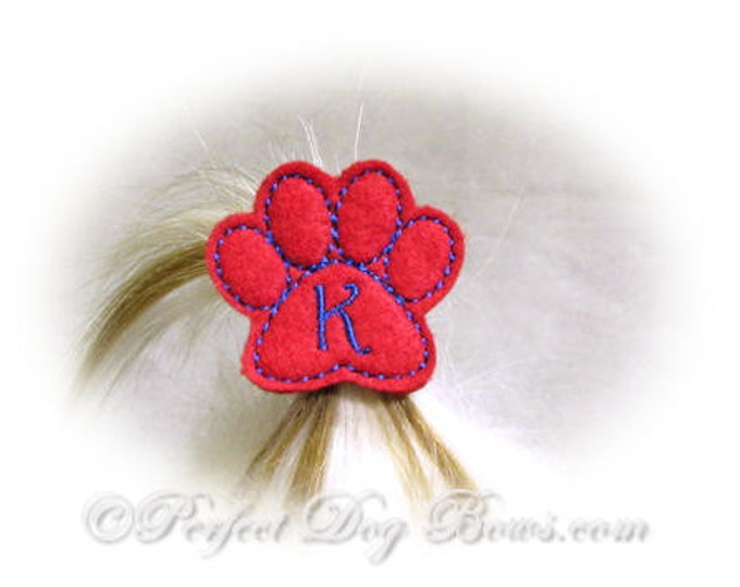Red Paw Dog Bow, Monogram Dog Bow, Personalized Dog Bow, Embroidered Paw, Paw Print, Felt Paw, Puppy Paw